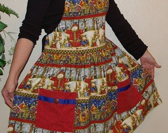 Womans Apron with Snowmen and Birds-Size Small