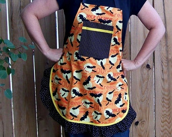 Halloween Apron - Ladies Full Ruffled Apron with Bats