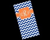 On *SALE* Premium Personalized Towel, soft, Absorbant, Personalized Beach Towel, custom made, screen print, chevron, polka dots ikat, Large