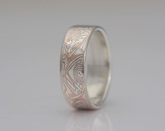 Wide mokume gane band, silver and copper, size 11 3/4, #542.