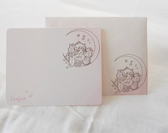 Flat note cards, whimsical stationery set hand stamped with a fairy sitting on the moon, stars and 'imagine', pink & brown, set of 10.
