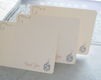 Thank you note cards, flat-style hand stamped stationery set with grey ladybug, grey swirl and 'Thank You' in pink. Set of 10.