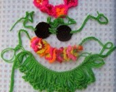 Hawaiian Baby Outfit, Hula, Hula Girl Set, Bright Neon Hula Baby, Photo Prop Set, 6 Months Size,Hawaiian Crochet Grass Skirt Set