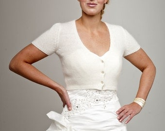 Wedding Jacket short sleeve with knots made of soft wool for your wedding dress or evening dress looking like Kate Middleton