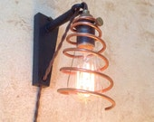 Copper Coil Cage Hanging Pendant Wall Sconce. Plug in sconce.