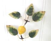 Hold til 1/16 -TOLE LEMON HOOK - Leaves - Vintage - Italian - Hanger - Italy - Metal Painted - Leaves -