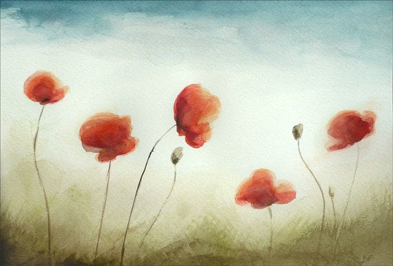 Red Poppies, Watercolor Painting, Poppy Watercolor,  Blooming Poppy Flower Motif, Original Painting by Dorota Polland, 7  x 11 inches