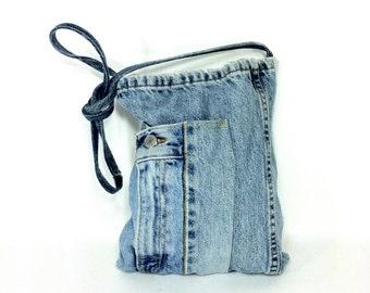 REDUCED~ 90s Denim Bag - Levis Blue Jean Denim Purse - 90s Sling Bag