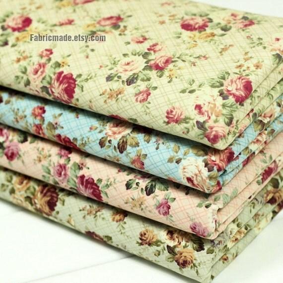 Tissus fleuris coton tissu shabby chic floral par fabricmade - Tissus fleuris anglais ...