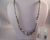 SALE Black and White Turquoise Beads Necklace and Earrings Set