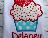 Custom Valentine Heart Cupcake Tshirt or Onesie with free Name