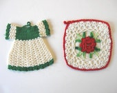 Vintage Hand Crocheted potholders, Housewares, Midcentury Linens, Retro Collectible