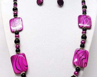 Hot Pink Shell Rectangle Bead Necklace & Earrings Set