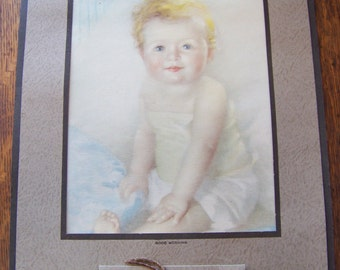 Vintage Calendar with Baby Picture.Peoples Wayne County Bank.Detroit, Michigan.Baby Shower Decor. Paper Ephemera.Babies.Vintage Advertising.