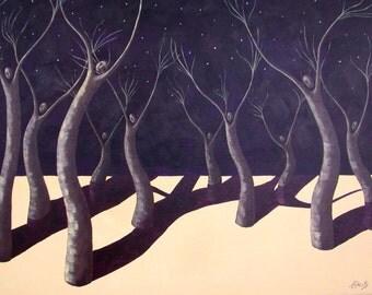 Dancing in the Moonlight, Starry Night Fantasy, Stars, Surrealism, Moonlight Fantasy, Night Dancing