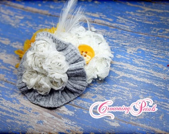 Mustard Yellow, Gray, White Headband, Fabric Flower Brooch, Infant, Baby, Toddler Hair Accessory, Hair Bow, Grey Hair Clip, Hair Piece
