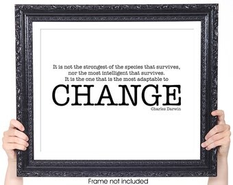CHANGE, Charles Darwin Quote, Inspirational Quote, Featured in Black and White, Motivational Art, Typography Art