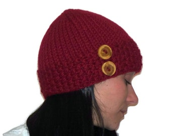 Warm Winter Beanie Hat Cranberry with Wood Buttons
