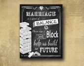 Sign a Block Guestbook alternative Sign - PRINTED chalkboard wedding signage - with optional add ons