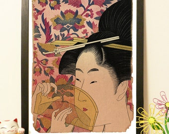 Japanese Geisha and flowers - Vintage Japan paper Dictionary Print
