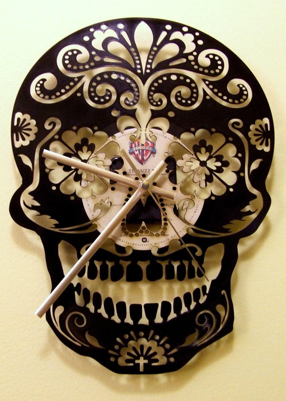 the day of dead sugar skull upcycled vinyljoannakrzepkowska