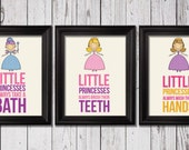Little princesses bathroom rules, Kids Decor, Kids Wall Art, Baby Decor, Nursery prints, princesses bathroom decor, bathroom rules art