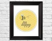 Bee happy nursery art,  bee happy art print, bee happy nursery, bee nursery wall decor, kids bedroom art, modern home decor, children decor