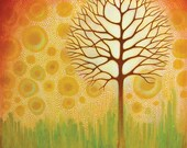Tree Matted Art Print titled Glow Tree from an original painting By Jennifer Barrineau