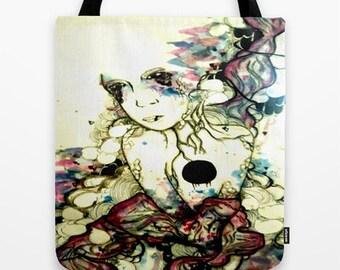 purple art canvas tote bag. Watercolor art, pop art tote bag
