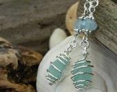 Genuine Aqua Sea Glass and Gemstone Earrings