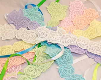 Glow in the Dark Embroidered Freestanding Lace Flower Crown Headband