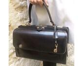 60s doctor bag black leather key lock