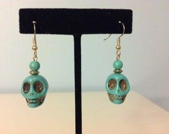 Skull Earrings Turquoise Blue Skull Earrings Skull Dangle Earrings