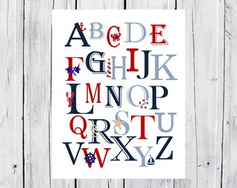 Nautical Nursery - Nautical Alphabet Print  -  Custom Colors -  Nursery Decor