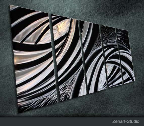 """Original Metal Wall Art Modern Sculpture Indoor Outdoor Decor """"Silver and Black Contrast"""" by Ning"""