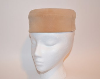 Mr John Vintage Pillbox Hat, Women's Designer Hat, Ladies' Tan Hat, 50's Hat