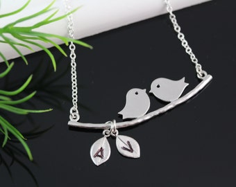 Love Birds Necklace, custom Initials Necklace, Mothers Necklace, Love Birds Jewelry, Bridal Shower gift, Anniversary Gift