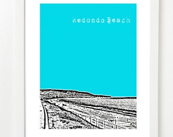 Redondo Beach Poster City Skyline Art Print - Redondo Beach California