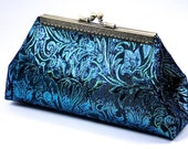 Peacock Blue Wedding Clutch,  Bridesmaid Frame Clutch Purse, Special Occasion Evening Bag, Womens Gift by WhiteCross Designs in USA