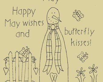 """Primitive Stitchery E-Pattern Rolling Pin Snowman by Month """"May"""", """"Happy May wishes and butterfly kisses."""""""