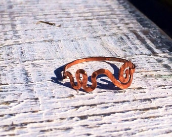 Mississippi River Ring Hammered in copper,  Stackable Sound Waves Ring in Copper