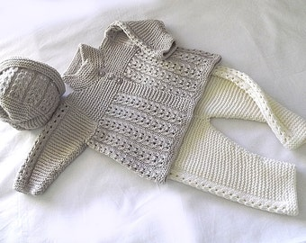 Quick knit baby jacket, hat and matching pants – P047