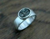 Rutilated Quartz, Wide Band Silver Ring, Eco, Ethical, Recycled, Ready to Ship Size O 1/2