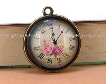 1pcs/ 2PCS/ 5PCS /10PCS  Rose Flower  Watch Face Pendant bronze  Victorian Bead Cabochon 20mm Pendant Earr drop handmade  jewelry