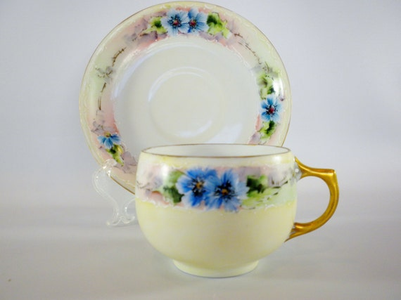 Antique, Bavaria Tea Cup and Saucer, Blue Flowers Tea Cup, China Tea Cup, Hand painted Tea Cup