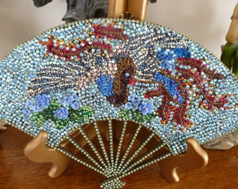 Vintage Brass Dragon Chinese Fan-crystal decorated-One of a kind- artist signed - heavy piece