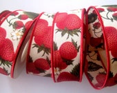 "REMNANT - Strawberry Cotton Wired Ribbon, Multi, 1 3/8"" inch wide, For Gift Packing, Wreaths, Center Pieces, Home Decor"