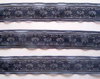 Navy Lace Trim, Navy Blue, 1 1/2 inch wide, 1 yard, For Accessories, Home Decor, Mixed Media, Apparel, Scrapbook