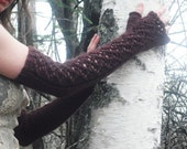 Fingerless Gloves, Arm Warmers, Lace Arm Warmers, Wool Arm Warmers, Long Fingerless Gloves, Brown Arm Warmers, Victorian Gloves, Mori Girl