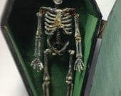 OOAK Hand Made Coffin with skeleton, Halloween decoration 1:12 scale